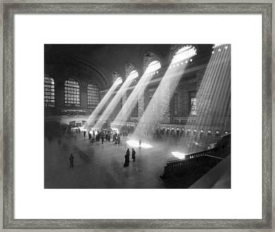 Grand Central Station Sunbeams Framed Print by Underwood Archives