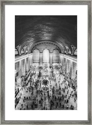Grand Central Terminal Birds Eye View Bw Framed Print by Susan Candelario