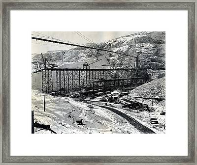 Grand Coulee Dam Construction  C. 1936 Framed Print by Daniel Hagerman