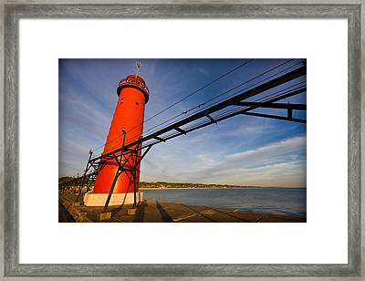 Grand Haven Lighthouse Framed Print by Adam Romanowicz