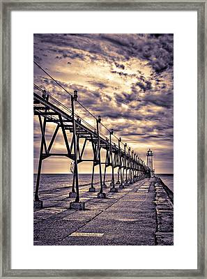Grand Haven Lighthouse And Pier, Grand Framed Print by Rona Schwarz