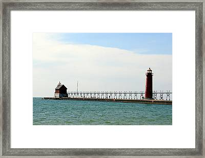Grand Haven Lighthouses Framed Print by George Jones