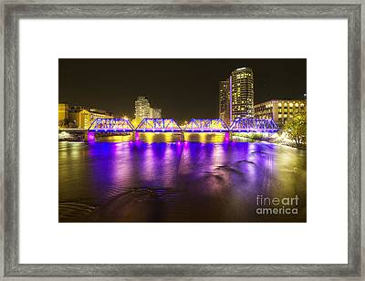 Grand Rapids At Night Framed Print by Twenty Two North Photography