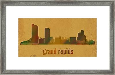 Grand Rapids Michigan City Skyline Watercolor On Parchment Framed Print by Design Turnpike