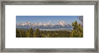 Grand Tetons Over Jackson Lake Panorama Framed Print by Brian Harig