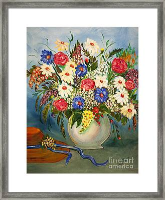 Grandma's Hat And Bouquet Framed Print by Janice Rae Pariza