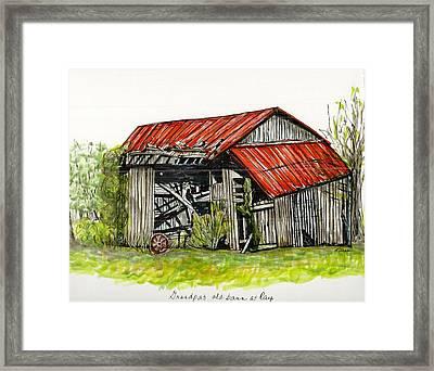 Grandpa's Barn Framed Print by Karen Wilson