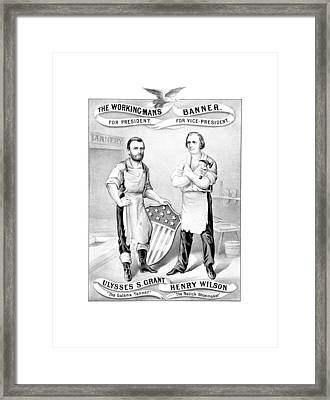 Grant And Wilson 1872 Election Poster  Framed Print by War Is Hell Store