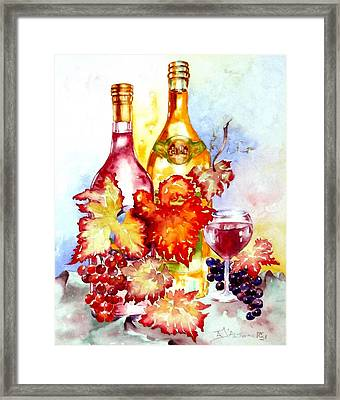Grapes And Wine Framed Print by Anne Dalton