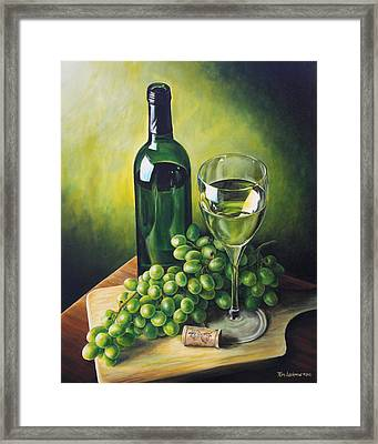 Grapes And Wine Framed Print by Kim Lockman