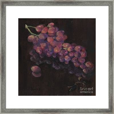 Grapes In Reflection Framed Print by Maria Hunt