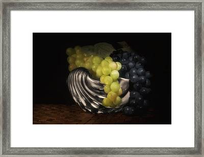 Grapes In Silver Seashell Still Life Framed Print by Tom Mc Nemar
