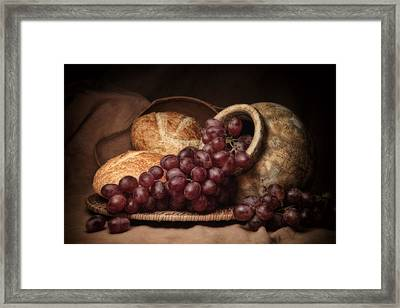 Grapes With Bread Still Life Framed Print by Tom Mc Nemar