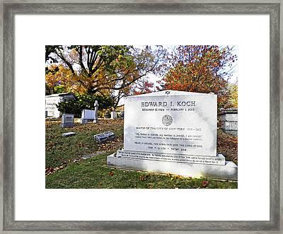 Grave Of Nyc Mayor Ed Koch Framed Print by Sarah Loft
