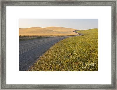 Gravel Road Through Farming Region, Wa Framed Print by John Shaw
