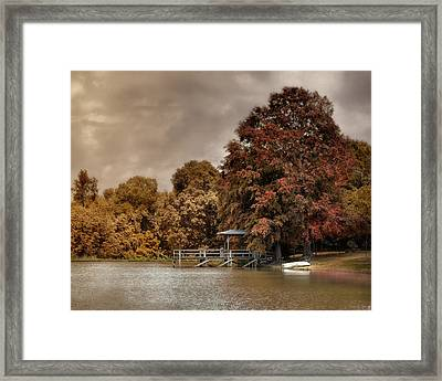 Graves Pond In Autumn Framed Print by Jai Johnson