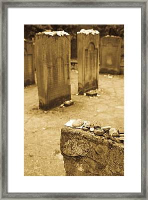 Gravestone At Old Jewish Cemetery Framed Print by Panoramic Images