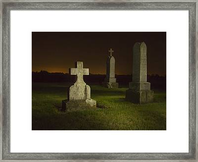 Gravestones At Night Painted With Light Framed Print by Jean Noren
