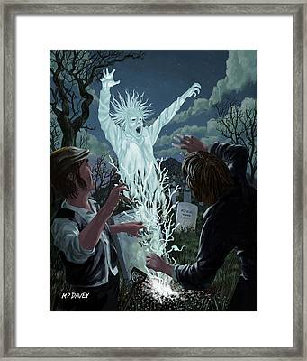 Graveyard Digger Ghost Rising From Grave Framed Print by Martin Davey