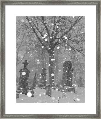 Graveyard In Winter Framed Print by Gothicolors Donna Snyder