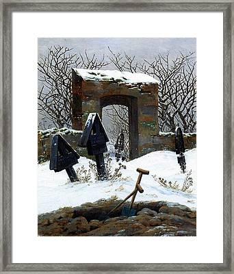 Graveyard Under Snow Framed Print by Philip Ralley