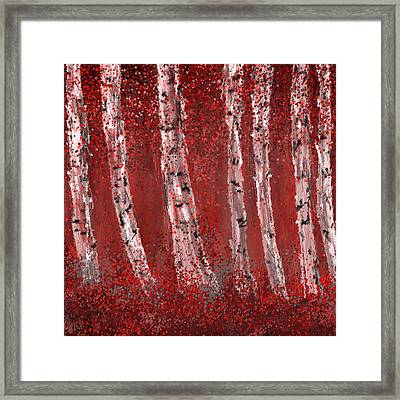 Gray And Red Birch Trees- Marsala Art Framed Print by Lourry Legarde