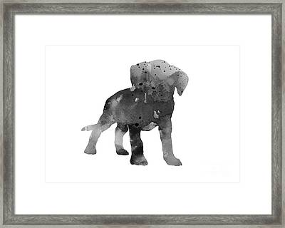 Gray Boxer Puppy Silhouette Framed Print by Joanna Szmerdt