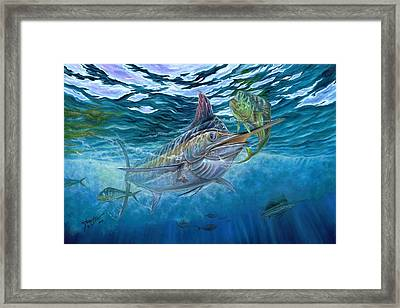 Great Blue And Mahi Mahi Underwater Framed Print by Terry Fox