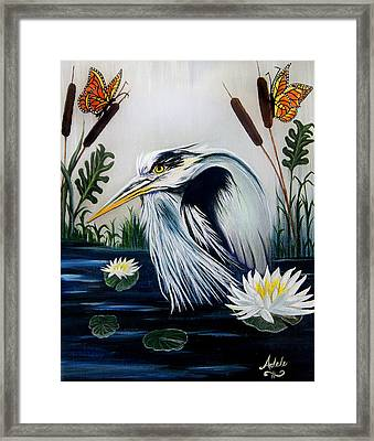 Great Blue Heron Happiness Framed Print by Adele Moscaritolo