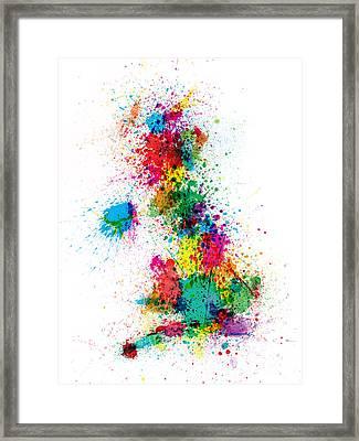Great Britain Uk Map Paint Splashes Framed Print by Michael Tompsett