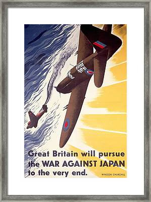 Great Britain Will Pursue War Against Japan To Very End Winston Churchill Propaganda Poster Framed Print by Anonymous
