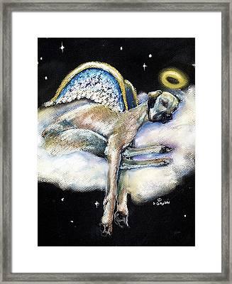 Great Dane Angel Leggy Framed Print by Darlene Grubbs