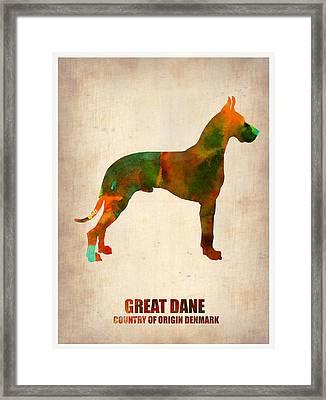 Great Dane Poster Framed Print by Naxart Studio