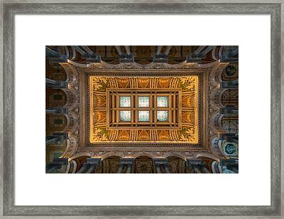 Great Hall Ceiling Library Of Congress Framed Print by Steve Gadomski