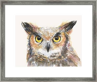 Great Horned Owl Watercolor Framed Print by Olga Shvartsur