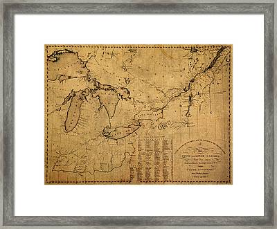 Great Lakes And Canada Vintage Map On Worn Canvas Circa 1812 Framed Print by Design Turnpike