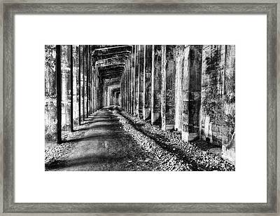 Great Northern Railroad Snow Shed - Black And White Framed Print by Mark Kiver