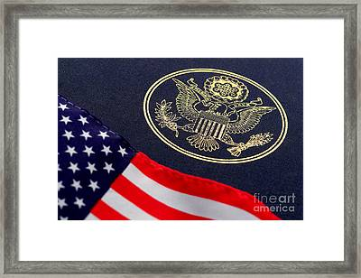 Great Seal Of The United States And American Flag Framed Print by Olivier Le Queinec