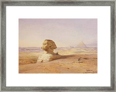 Great Sphinx Of Giza With Pyramids In The Background Framed Print by Eduard Hildebrandt