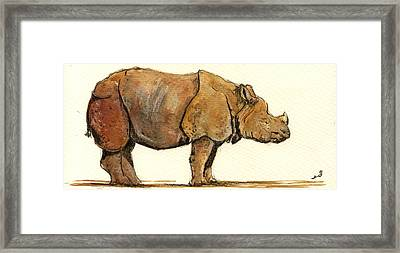 Greated One Horned Rhinoceros Framed Print by Juan  Bosco