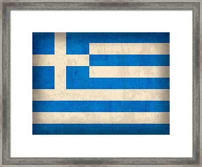 Greece Flag Vintage Distressed Finish Framed Print by Design Turnpike