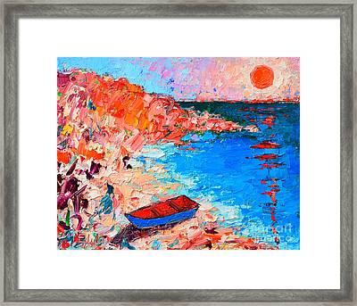 Greece - Santorini Island - Fishing Boat On Akrotiri Beach At Sunrise Framed Print by Ana Maria Edulescu