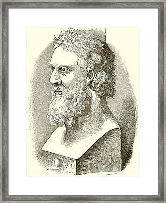 Greek Bust Of Plato Framed Print by English School