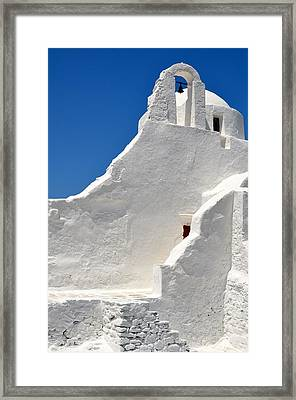 Greek Church Framed Print by Corinne Rhode