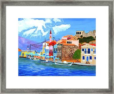 Greek Coast Framed Print by Magdalena Frohnsdorff