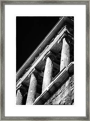 Greek Columns Framed Print by John Rizzuto