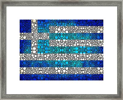 Greek Flag - Greece Stone Rock'd Art By Sharon Cummings Framed Print by Sharon Cummings