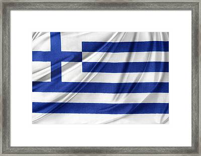 Greek Flag Framed Print by Les Cunliffe