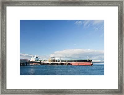 Greek Oil Tanker Docked In Scotland Framed Print by Ashley Cooper