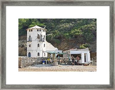 Greek Windmill Framed Print by Tom Gowanlock